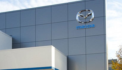 We installed Metallic Grey Composite panels on a feature wall at the Pacific Mazda car dealership in Victoria.